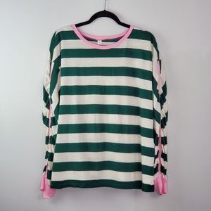 BP Striped Long Sleeve Top Pink Sleeve Detail XL